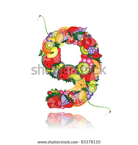 Number nine made from fruits. See others in my gallery