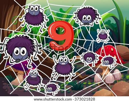 number nine with nine spiders