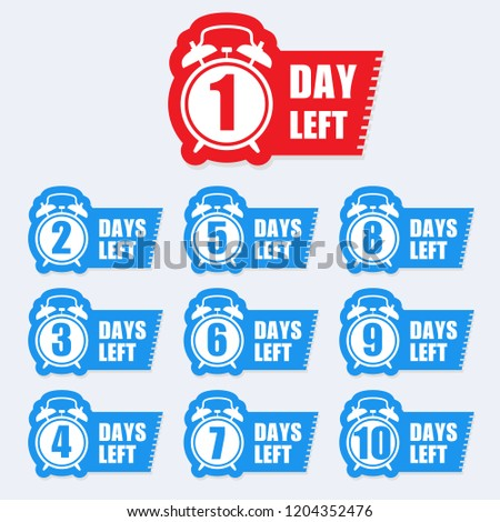 Number of days left badge for sale or promotion sale label -  sticker with alarm clock