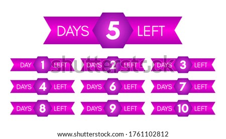Number of days left. Set of ten purple banners with countdown from 1 to 10. Vector illustration stock photo