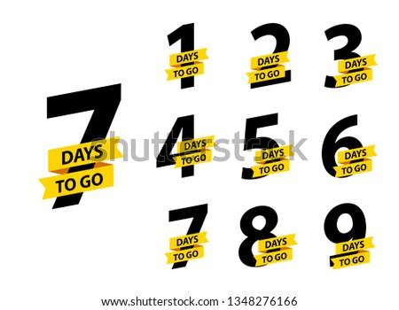 Number 1, 2, 3, 4 5 6 7 8 9 10 of days left to go Collection badges sale landing page banner Stock foto ©