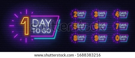 Number of days to go.Countdown template. Neon sign.