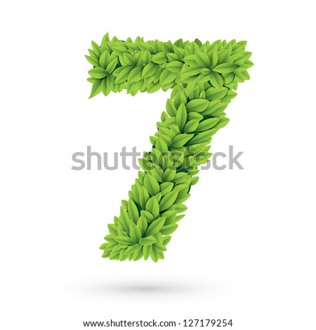 Number of green leaves vector illustration
