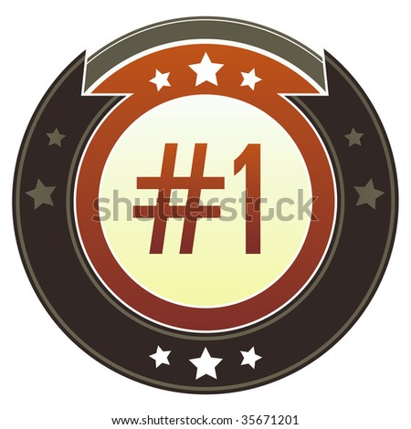 Number one e-commerce icon on round red and brown imperial vector button with star accents suitable for use on website, in print and promotional materials, and for advertising.