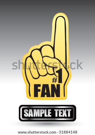 number one fan foam hand on nameplate