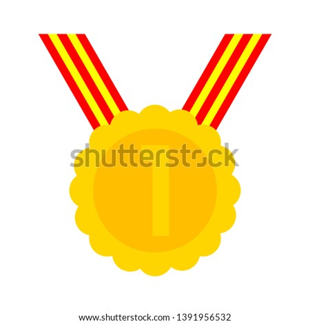 Number one gold medal vector icon illustration isolated on white background, olympic game prize