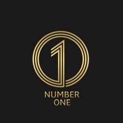Number one icon. Golden winner best champion symbol
