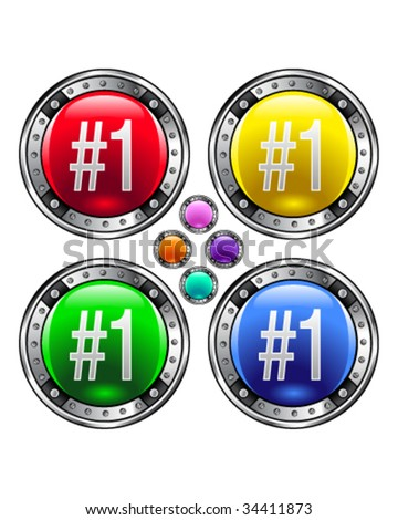 Number one icon on round colorful vector buttons suitable for use on websites, in print materials or in advertisements.  Set includes red, yellow, green, and blue versions.