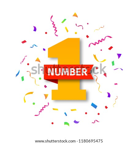 Number one illustration with red ribbon, confetti and party