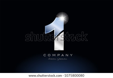 number 1 one logo design with metal blue color suitable for a company or business