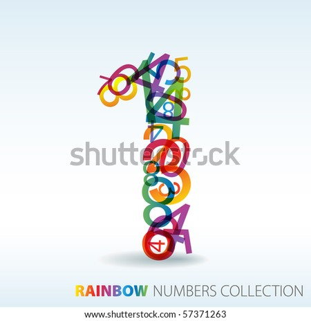 Number one made from colorful numbers -  check my portfolio for other numbers