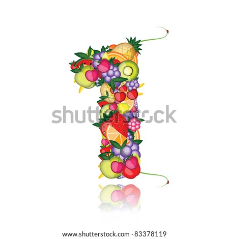 Number one made from fruits. See others in my gallery