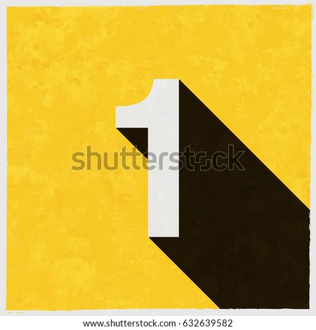 Number One, 1 on retro poster with long shadow. Vintage sign with grunge effects. Vector illustration, easy to edit, manipulate, resize or colorize.