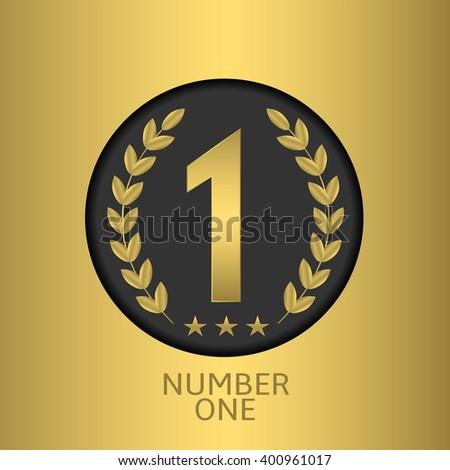 Number one symbol over golden background. Champion, winner, leader symbol. Vector illustration