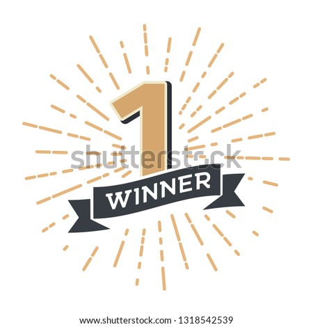 Number one winner retro vector emblem. Vintage logo 1 place champion with ribbon and fireworks on white background