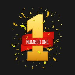 Number one with red ribbon and confetti. Vector illustration.
