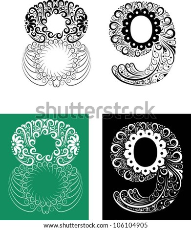 Number ornaments 8-9. Easy to change color.
