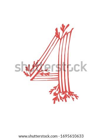 number 4 pink colored seaweeds