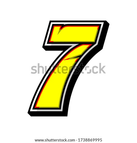 number 7 race icon vector