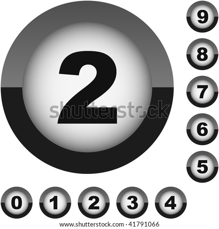 Number set button. Vector collection.