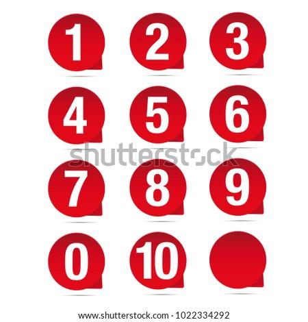 Number set red vector label