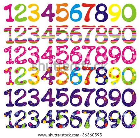 Number set with abstract patterns. Vector illustrations.