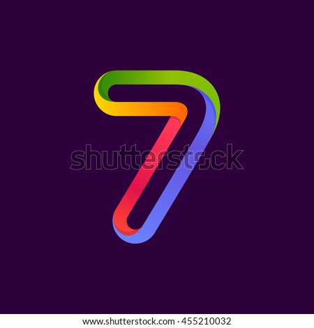 Number seven logo formed by colorful neon line. Vector design for banner, presentation, web page, card, labels or posters.