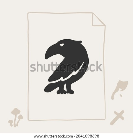 number seven logo with a raven