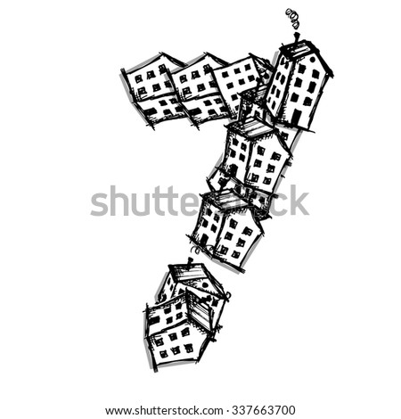 number seven made from houses