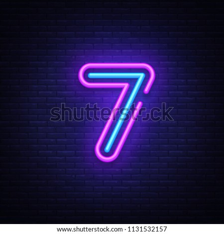 Number seven symbol neon sign vector. Seventh, Number seven template neon icon, light banner, neon signboard, nightly bright advertising, light inscription. Vector illustration
