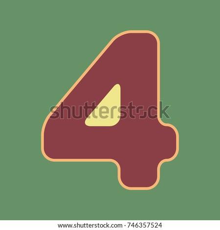 number 4 sign design template