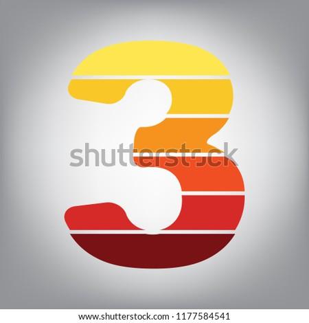number 3 sign design template