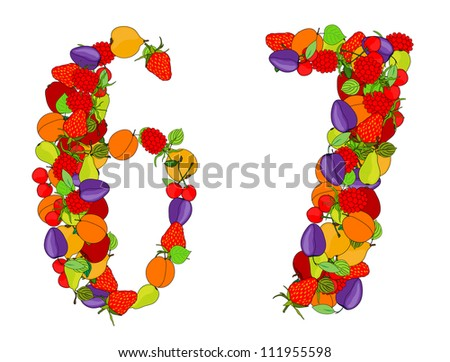 number six and number seven made from different fruits