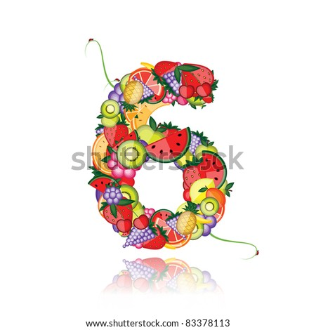 Number six made from fruits. See others in my gallery