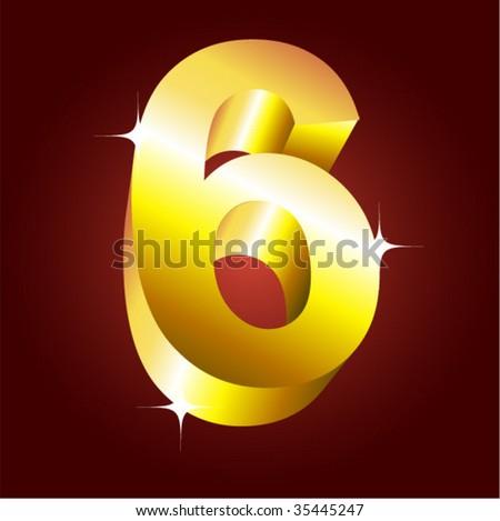 Number six. Vector golden font - stock vector