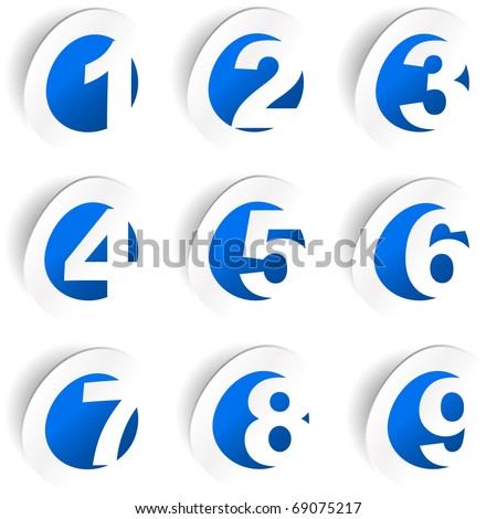 Number sticker collection. Vector set.