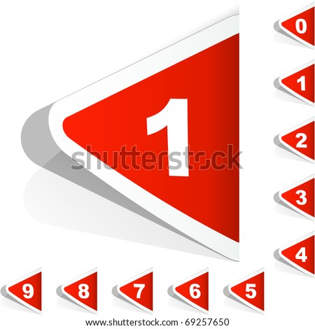 Number sticker set 1,2,3,4,5,6,7,8,9. Vector graphic elements. Web icon.