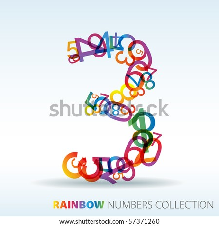 number three made from colorful