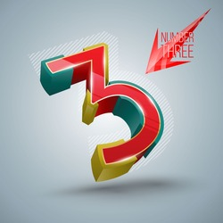 Number three Vectors 3D modern style. Give your special message an original touch with this set of 3D numbers - design original dates, years, addresses, annual report covers, posters and more.