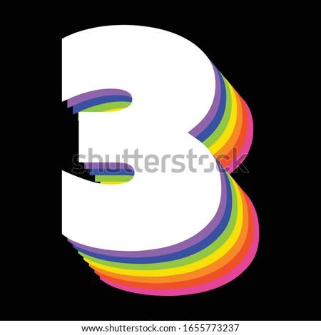 number three written in rainbow
