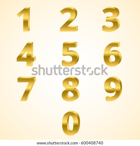 Gold grunge 3D numbers set isolated on… Stock Photo ...