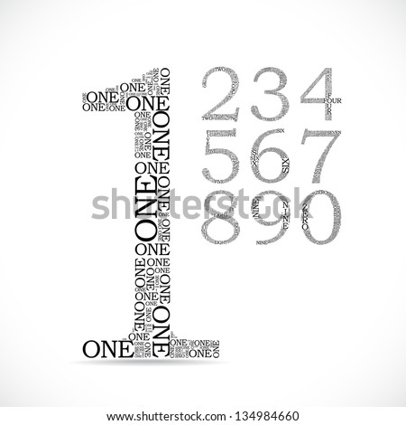 number two created from text