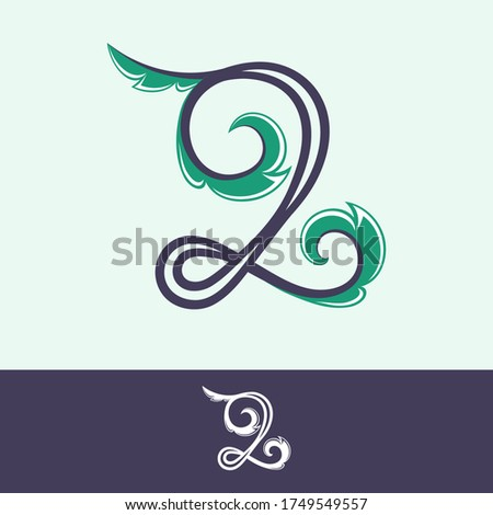number two logo in floral