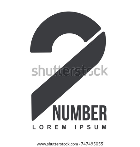 Number two logo templates. Black and white graphic number one logo templates, corporate identity. , vector illustrations isolated on white background.