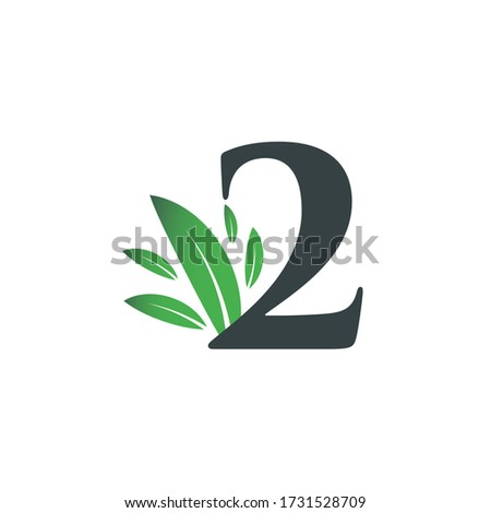 number two logo with green