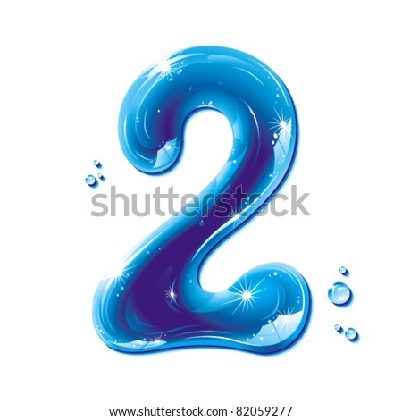 number two, with water written numeral, Vector Illustration