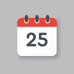 Number 25 - vector icon calendar days. 25th day of the month. Illustration flat style. Date of week, month, year Sunday, Monday, Tuesday, Wednesday, Thursday, Friday, Saturday. Holiday calendare date