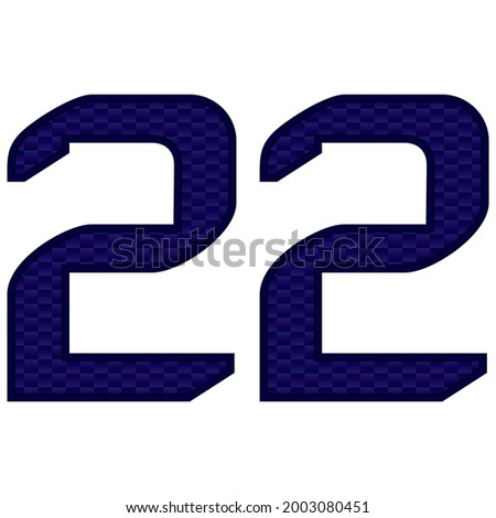 Number 22 Vector Illustration. Blue Number Twenty Two With Abstract Pattern Isolated On A White Background  Сток-фото ©