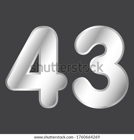 number 43 vector in silver