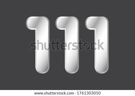 number 111 vector in silver